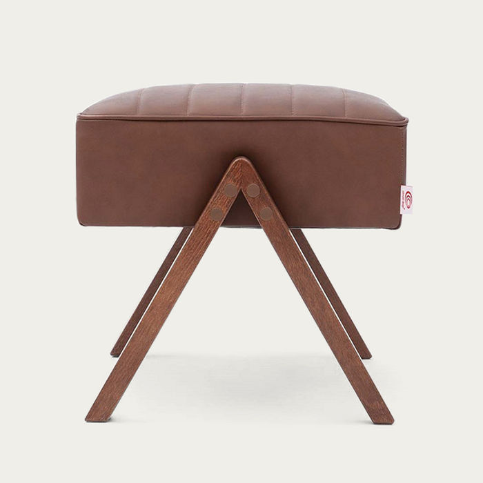 Brown Retrostar Footstool Leather | Bombinate