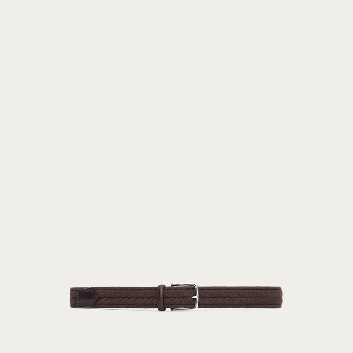 Brown Stefano Elastic Braided Wool | Bombinate