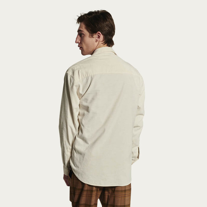 Relaxed Oversized Shirt in Cream Japanese Corduroy | Bombinate