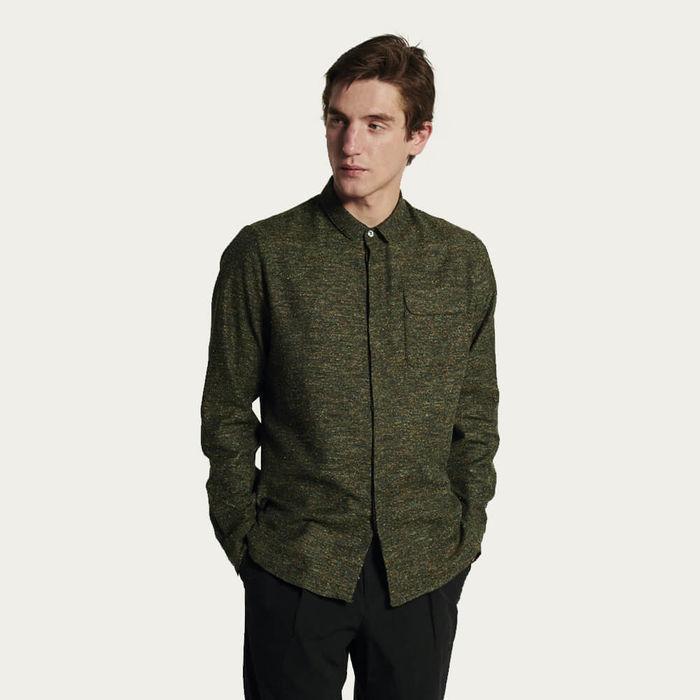 Round Collar Shirt in Green Italian Cotton Silk Tweed | Bombinate