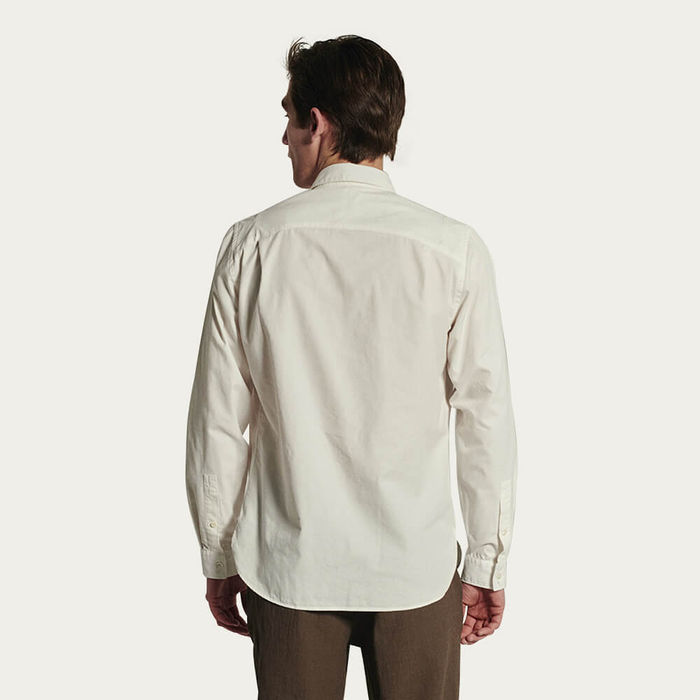 Relaxed Farmer Shirt in a White Portuguese Cotton and Tencel Blend   Bombinate