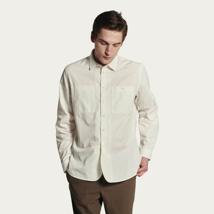 Relaxed Farmer Shirt in a White Portuguese Cotton and Tencel Blend | Bombinate