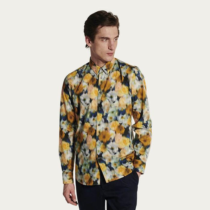 Feel Good Shirt in Yellow Liberty Printed Cotton | Bombinate