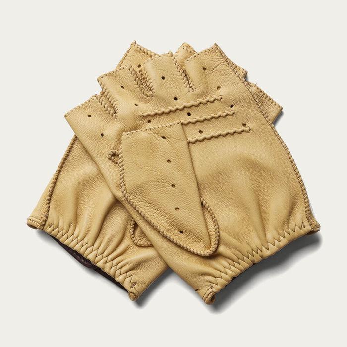 Triton Cream Fingerless Driving Gloves | Bombinate