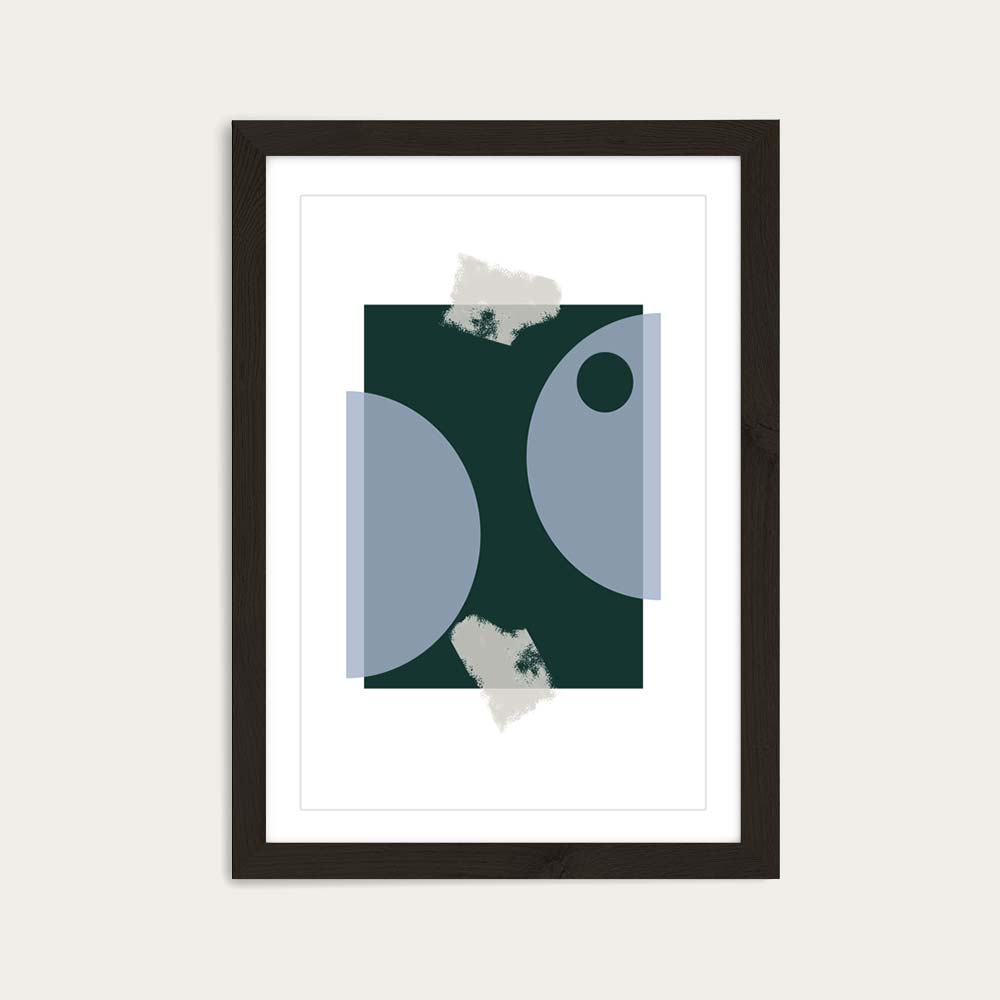 Black Frame Blue & Green Art Print | Bombinate