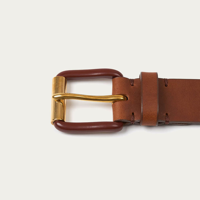 Saddle Brown/Brass Modernist Exposed Belt | Bombinate
