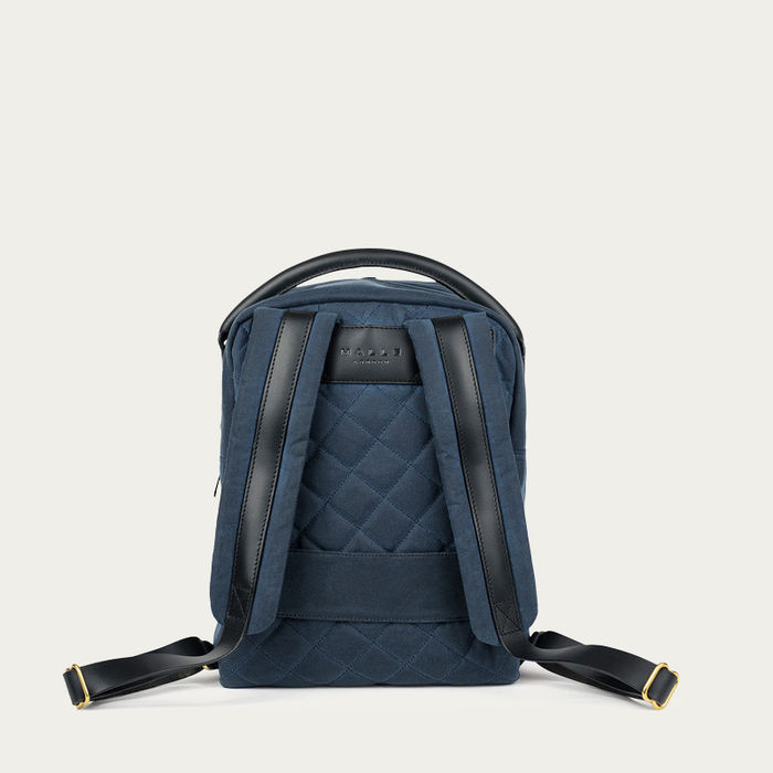 Navy Bonnie Waxed Canvas Backpack  | Bombinate