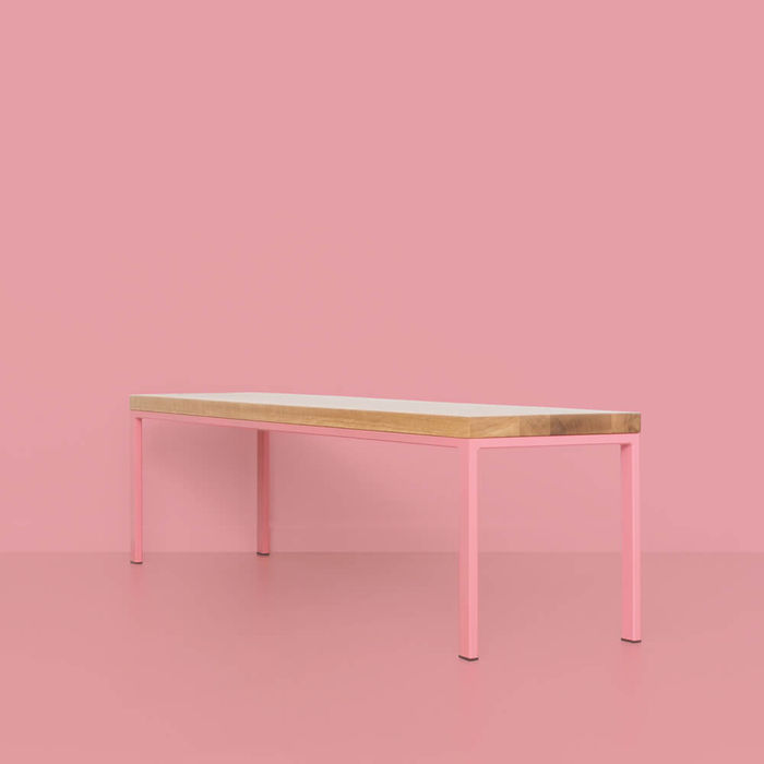 Oak Antique Pink Simpelveld Bench   Bombinate
