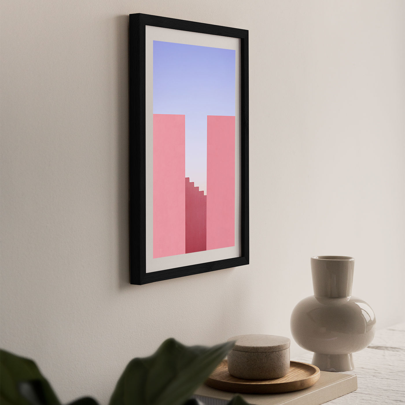 Walking On Sunset Art Print Black Frame   Bombinate