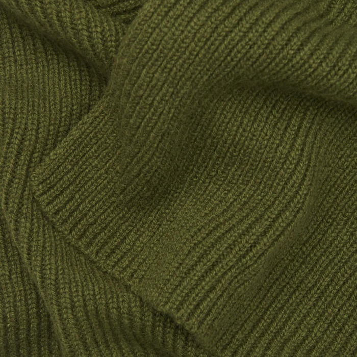 Olive Knitted Cashmere Scarf | Bombinate