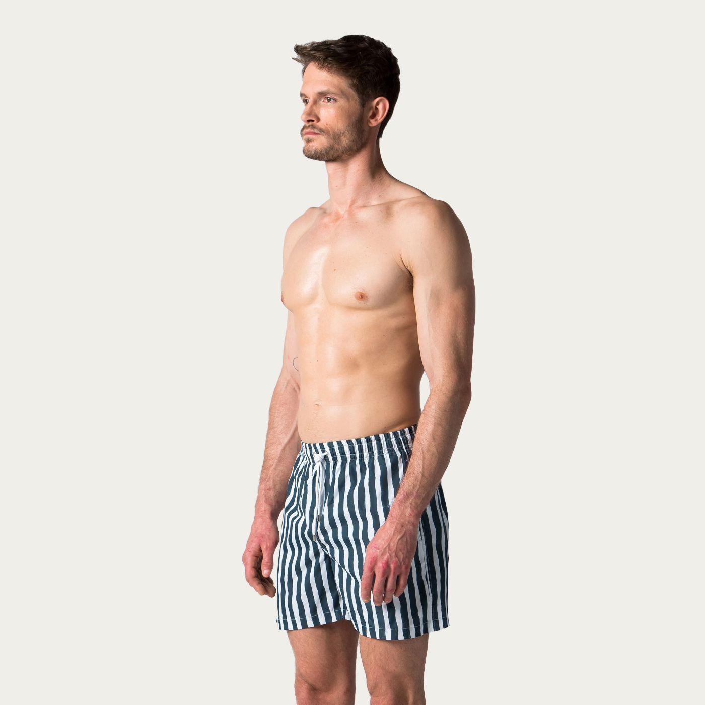 Hale Navy Bold Stripes Swim Trunks | Bombinate