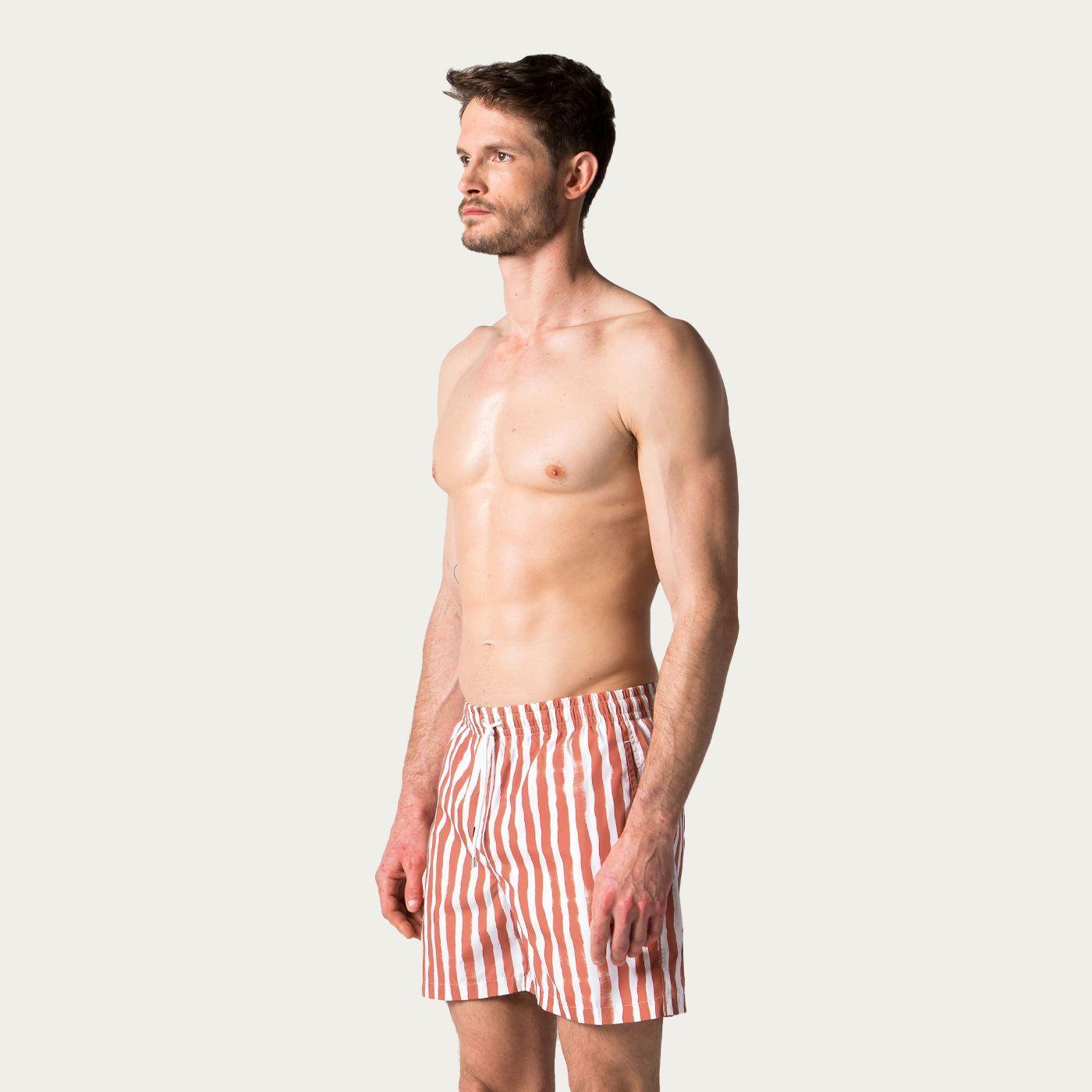 Terracotta Bold Stripes Swim Trunks   Bombinate