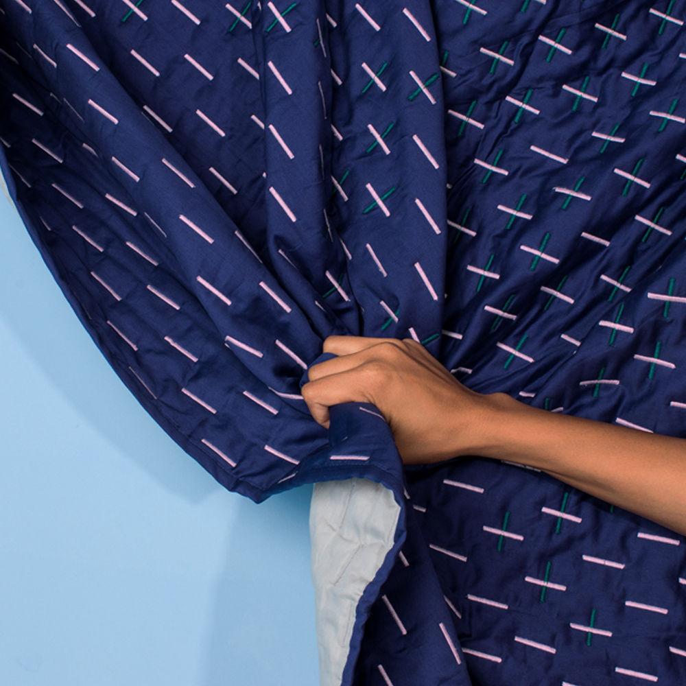Blue Modern Kantha Double Blanket | Bombinate