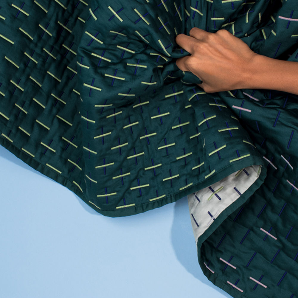 Teal Modern Kantha Single Blanket | Bombinate