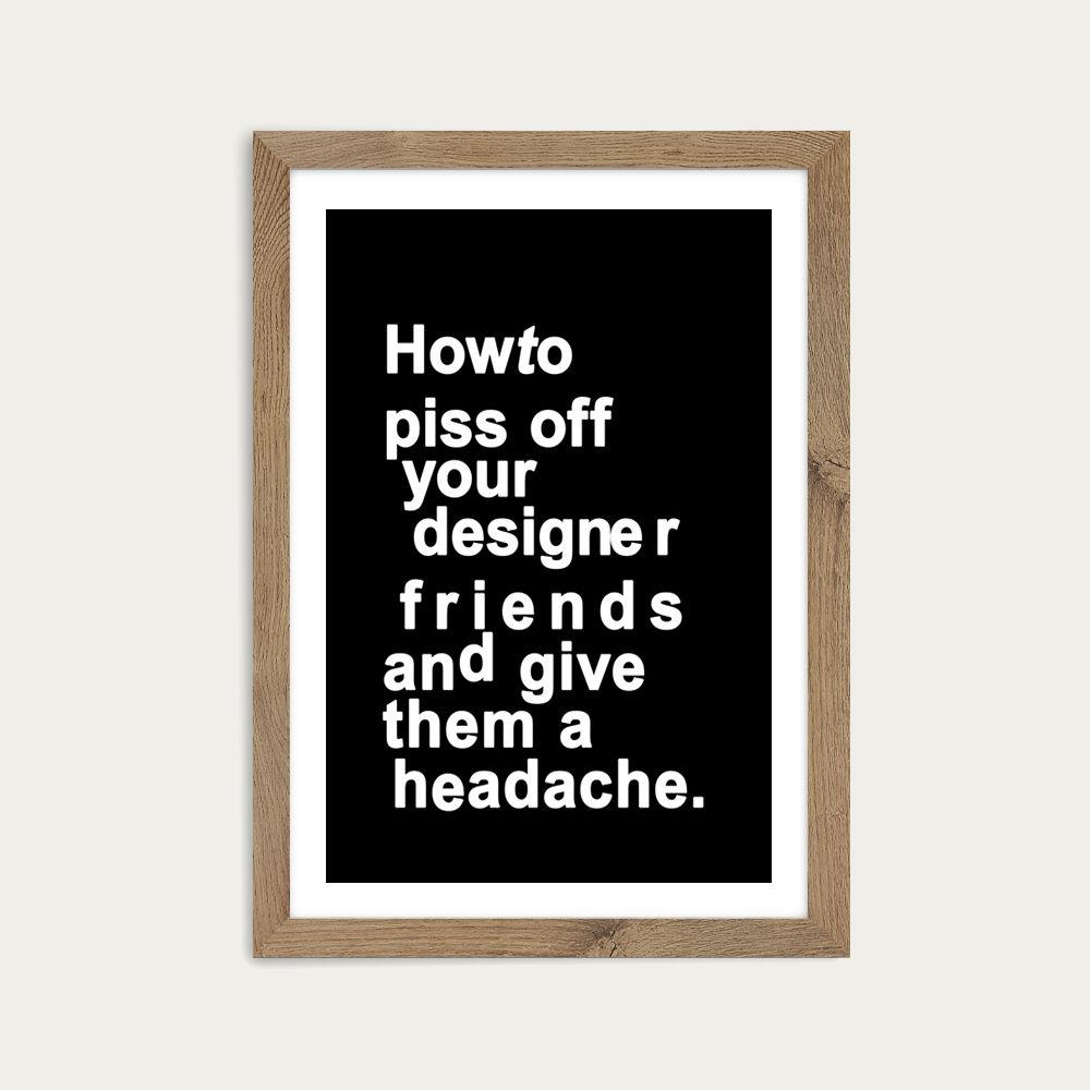The Headache Art Print Oak Frame | Bombinate