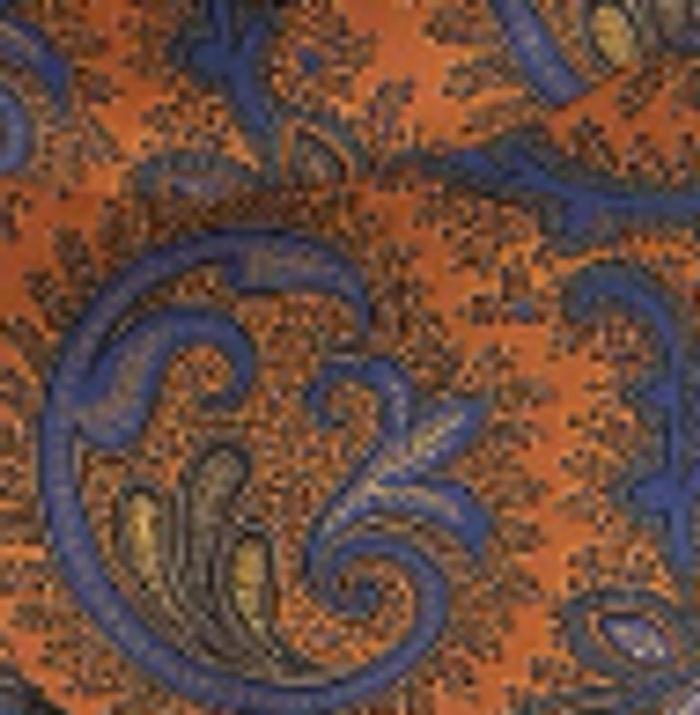 Orange and Blue Paisley Habotai Silk Scarf | Bombinate