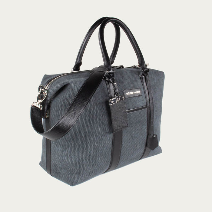 Anthracite Grey Canvas & Black Saffiano Leather Nando Small Weekender | Bombinate