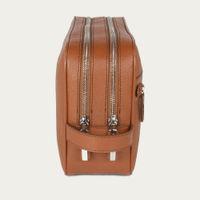 Camel Saffiano Leather Edy Washbag | Bombinate