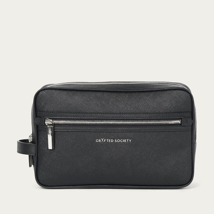 Black Saffiano Leather Edy Washbag | Bombinate