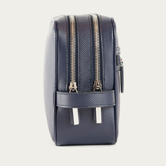 Navy Saffiano Leather Edy Washbag | Bombinate