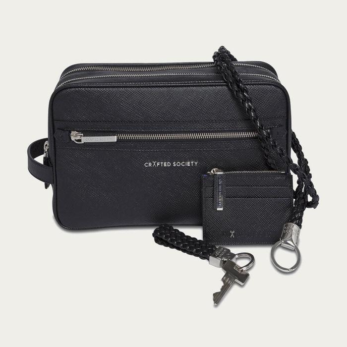 Black Saffiano Leather Gusto Key Ring | Bombinate