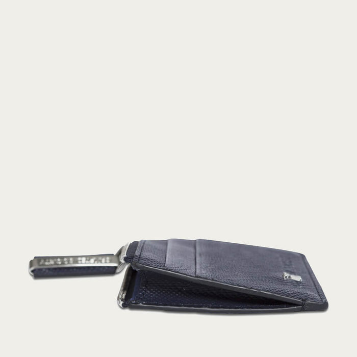 Navy Saffiano Leather Sauro Cardholder | Bombinate