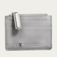 Light Grey Saffiano Leather Sauro Cardholder | Bombinate