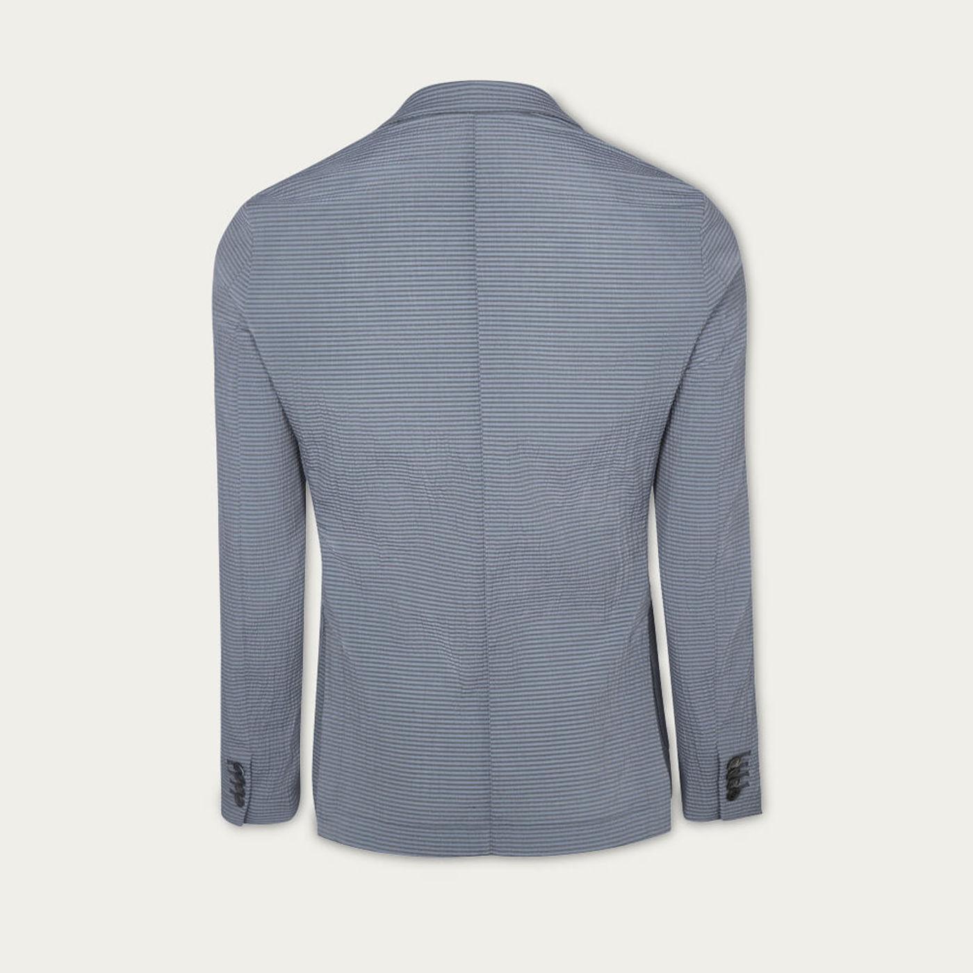 Indigo Seersucker Stripe Jacket   Bombinate