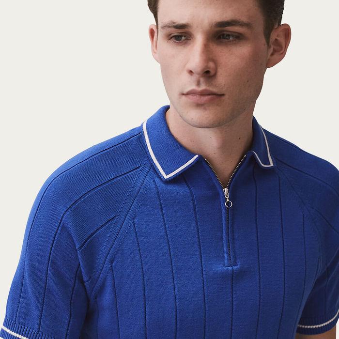 Blue Zip Polo Knit | Bombinate