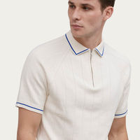 Cream Zip Polo Knit | Bombinate