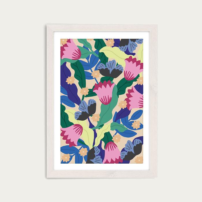 Jungle Leopard Floral Art Print White Frame | Bombinate