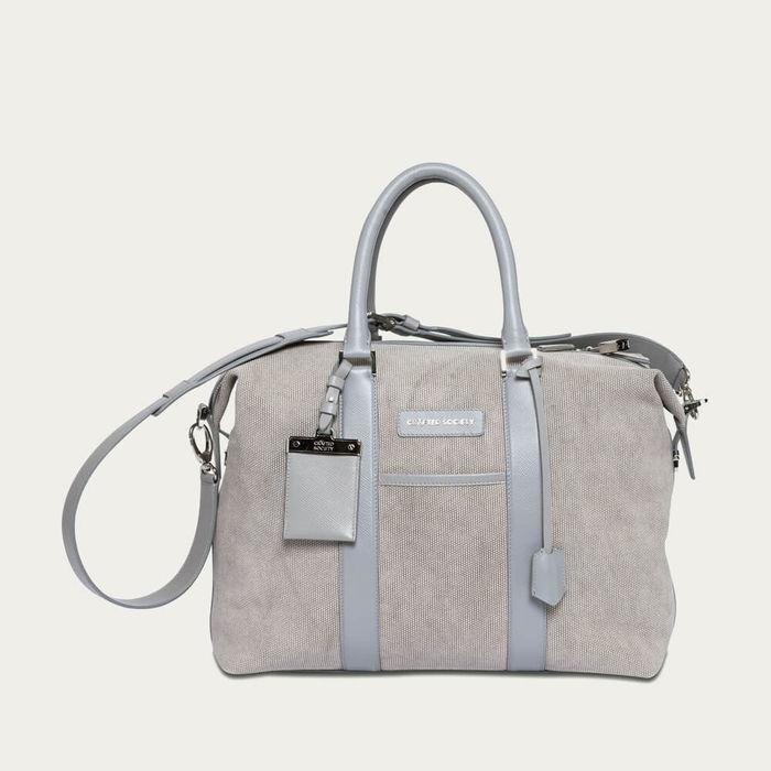 Grey Canvas & Grey Saffiano Leather Nando Small Weekender | Bombinate