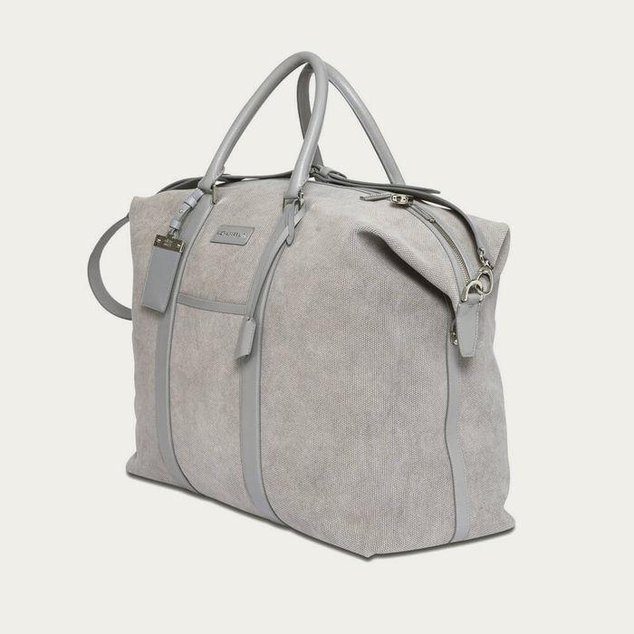 Light Grey Canvas & Light Grey Saffiano Leather Nando Weekender | Bombinate
