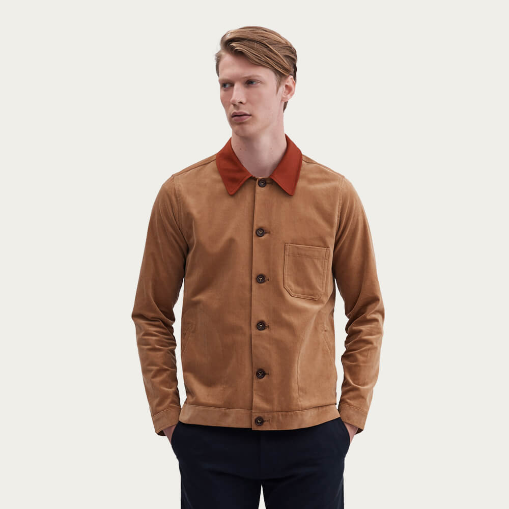 Clay Vincent Button | Corduroy Rust Collar | Bombinate