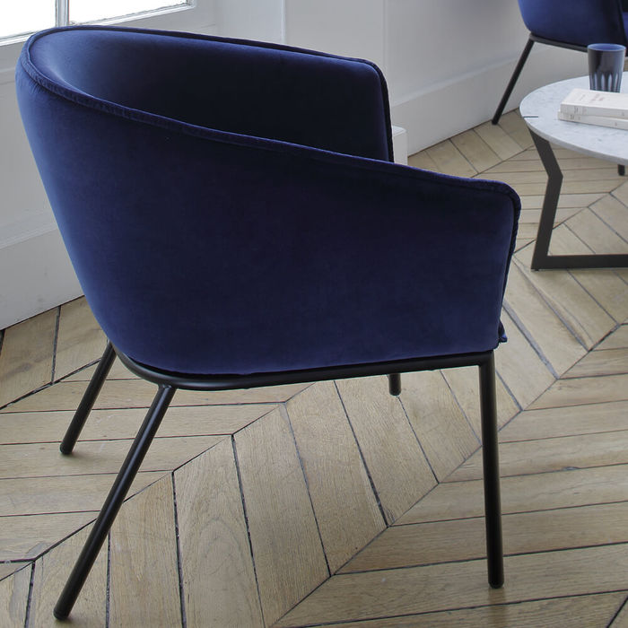 Navy You Fabric Low Armchair | Bombinate