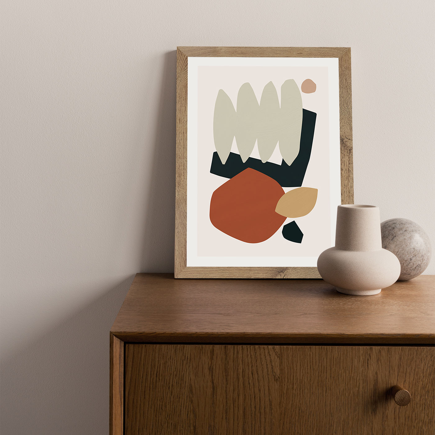 Collage Earth II Art Print Oak Frame | Bombinate