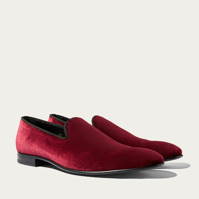 Red Albert Velvet Slippers   Bombinate