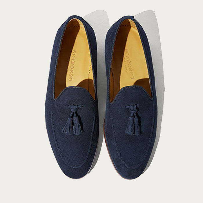 Dark Blue Suede Leather Ettore Abisso Loafers | Bombinate