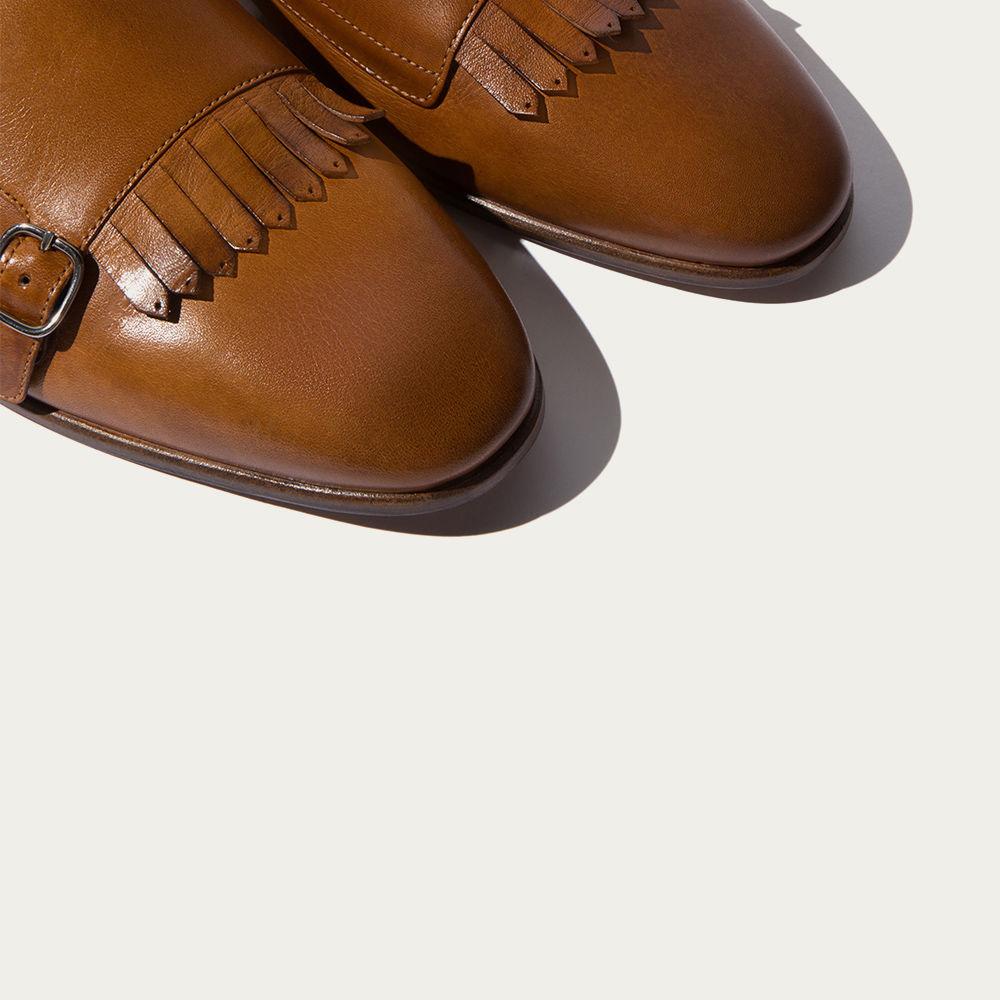Light Brown Calf Franco Cognac Monks | Bombinate