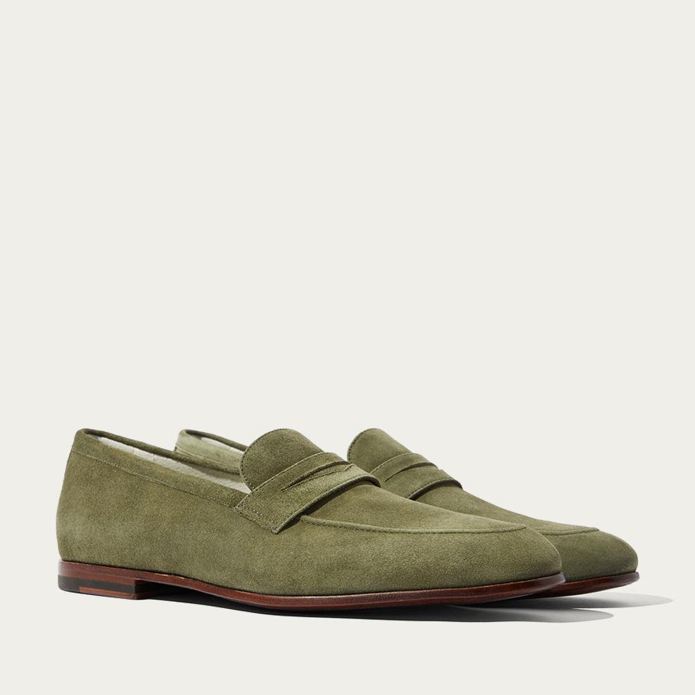 Dark Green Suede Leather Marzio Verdone Scamosciato Loafers | Bombinate