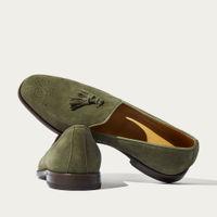 Dark Green Suede Leather Rolando Verdone Scamosciato Loafers | Bombinate