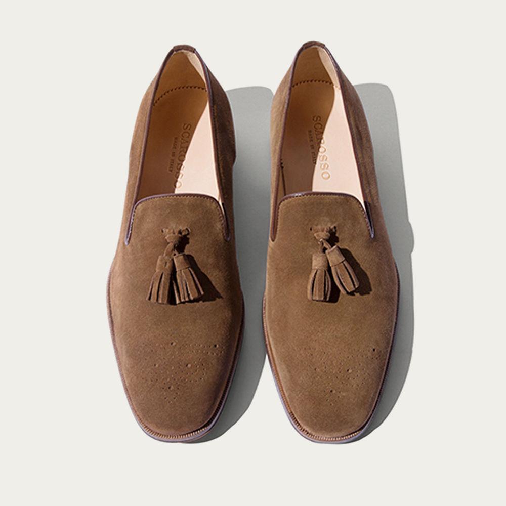 Tobacco Suede Leather Rolando Scamosciato Loafers | Bombinate