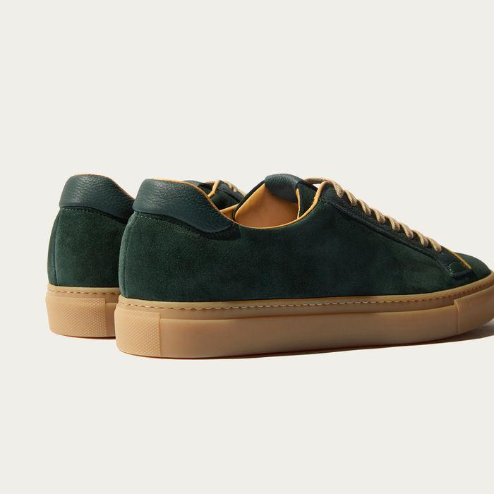 Dark Green Suede And Calf Ugo Verdone Scamosciato Sneakers   Bombinate