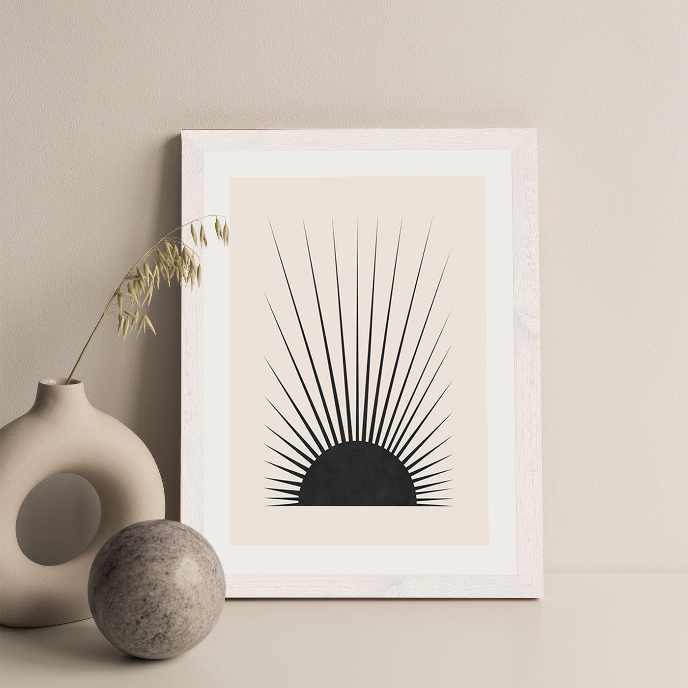 Minimal Sun Art Print White Frame   Bombinate