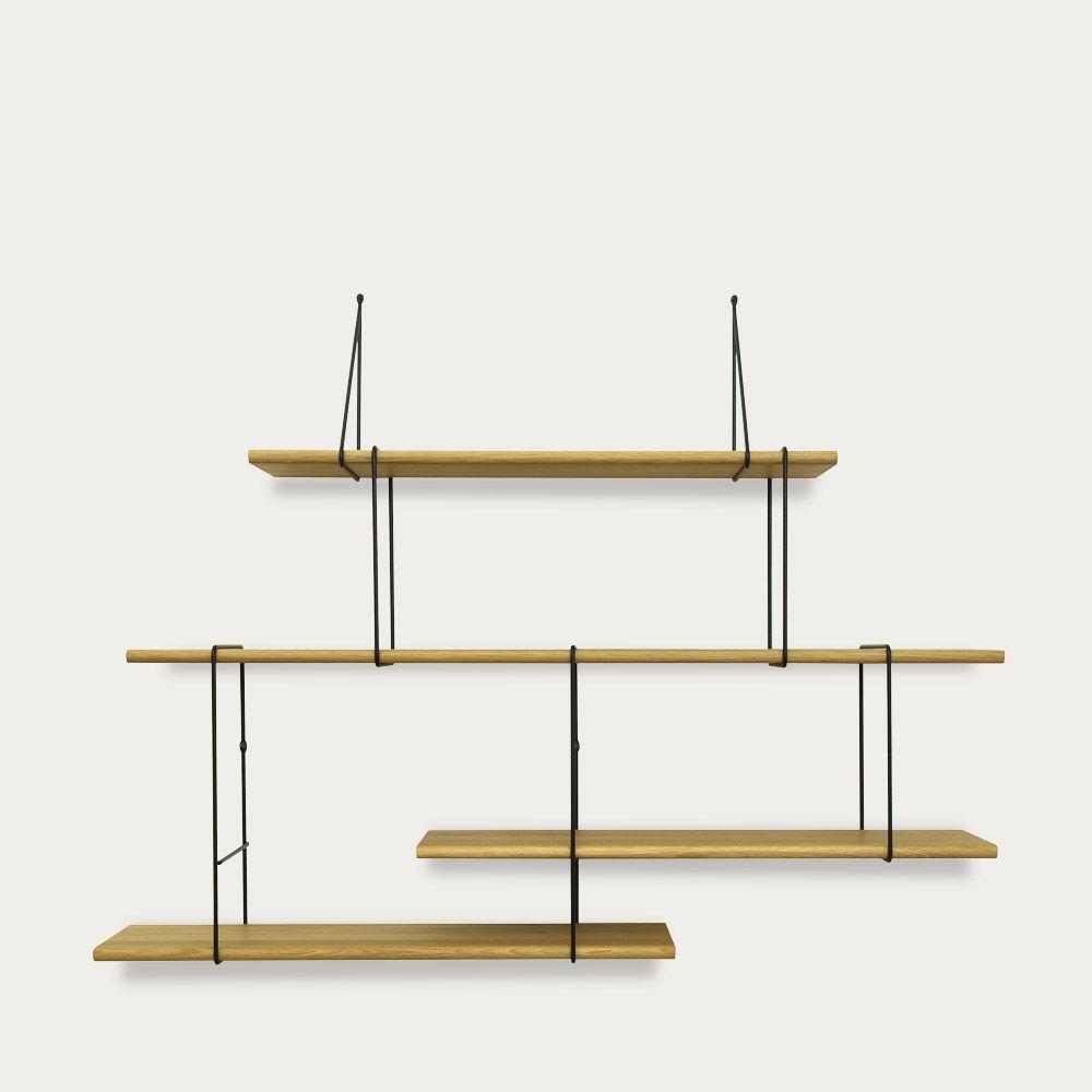 Oak / Black LINK Set 2 Shelf  | Bombinate