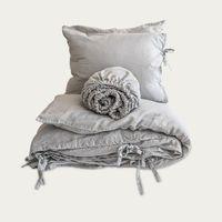 Light Grey Tied Hardcore Linen Bedding Bundle | Bombinate