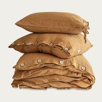 Cinnamon Buttoned Linen Duvet Cover Set   Bombinate