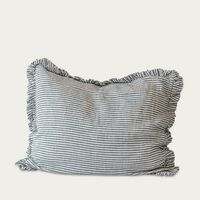 Striped Ruffled Linen Pillowcase | Bombinate