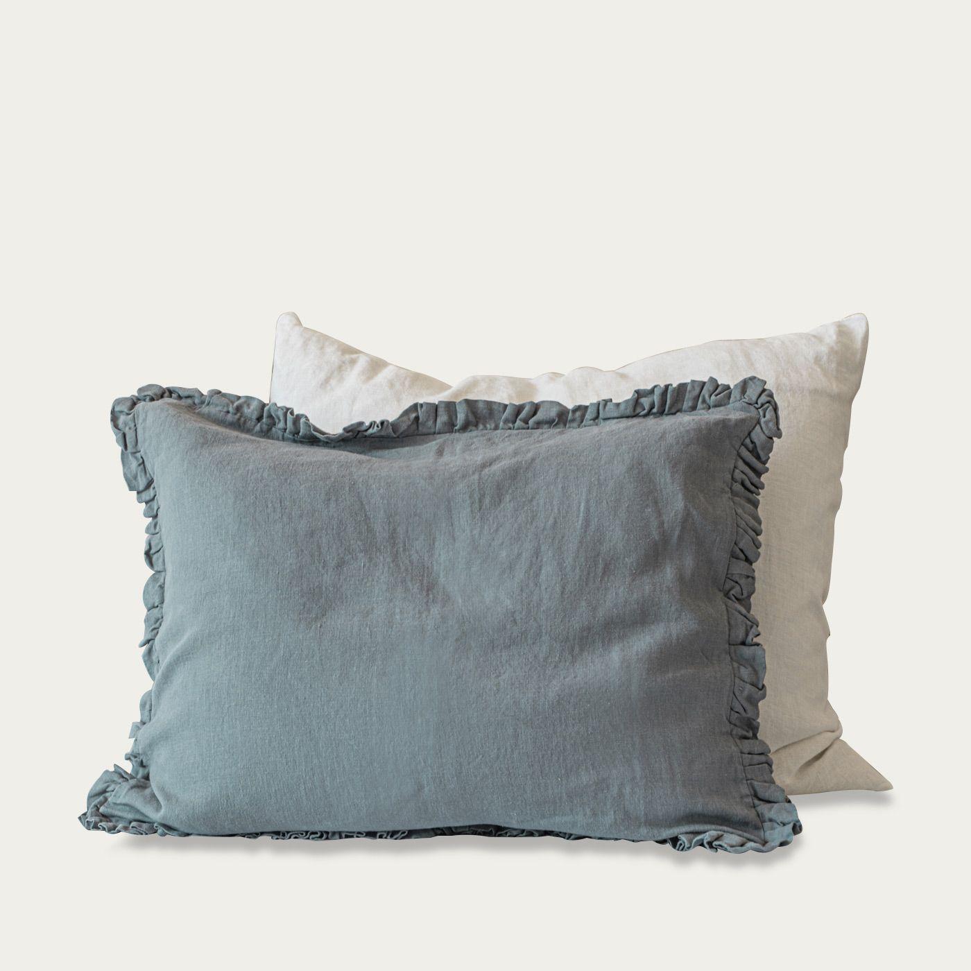 Dusty Blue Ruffled Linen Pillowcase | Bombinate