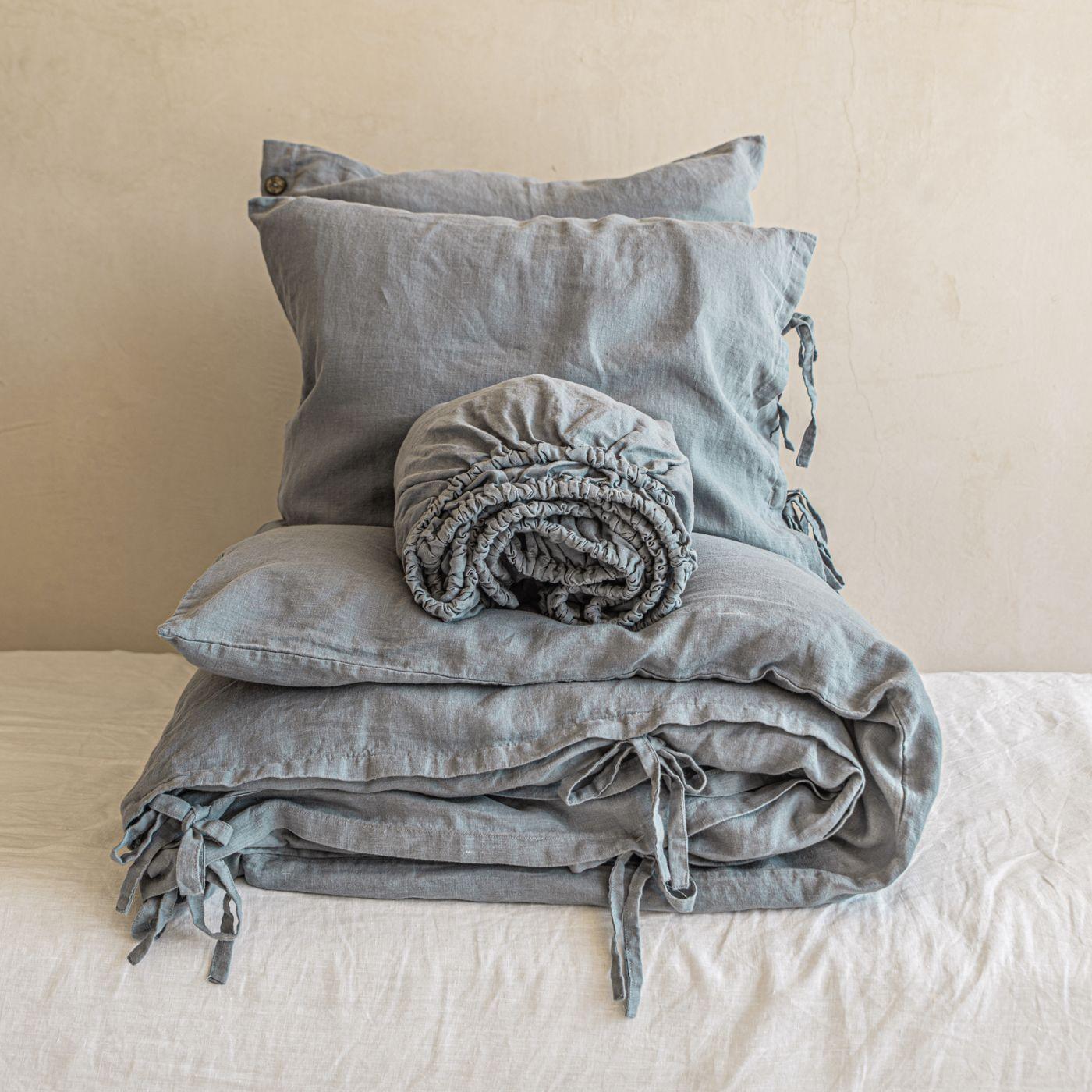 Dusty Blue Tied Hardcore Linen Bedding Bundle | Bombinate